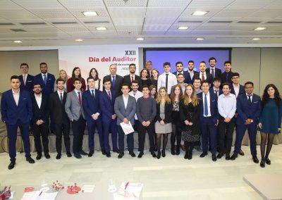 Día del Auditor 2019, Auditores Madrid ICJCE. Estudiantes de MACAM con el Director de la Cátedra UAM-Auditores Madrid y la Directora de MACAM